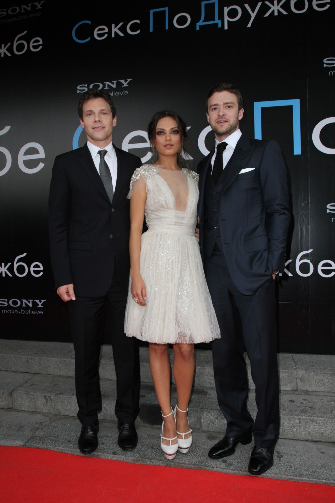 Director Will Gluck, Mila Kunis and Justin Timberlake at FRIENDS WITH BENEFITS Russia Premiere.