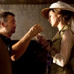 Louise Bourgoin with Luc Besson on the set of Adele Blanc-Sec