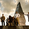 """Pictured left to right: Jack Reynor; Mark Wahlberg; 2nd Assistant B-Camera Casey """"Walrus"""" Howard; 1st Assistant B-Camera John Kairis with back to camera; B-Camera Operator Lukasz Bielan; Director Michael Bay; and Director of Photography Amir Mokri."""